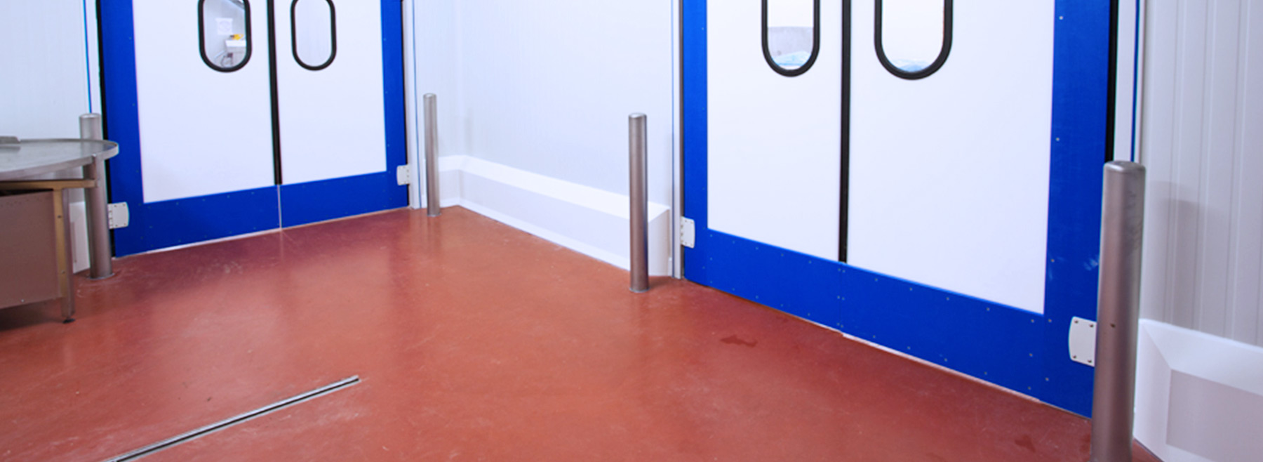 HygiDoor with protecting poles