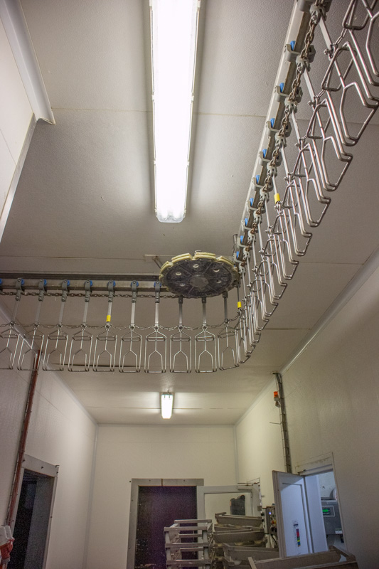 hygienic FRP ceiling in meat processing plant