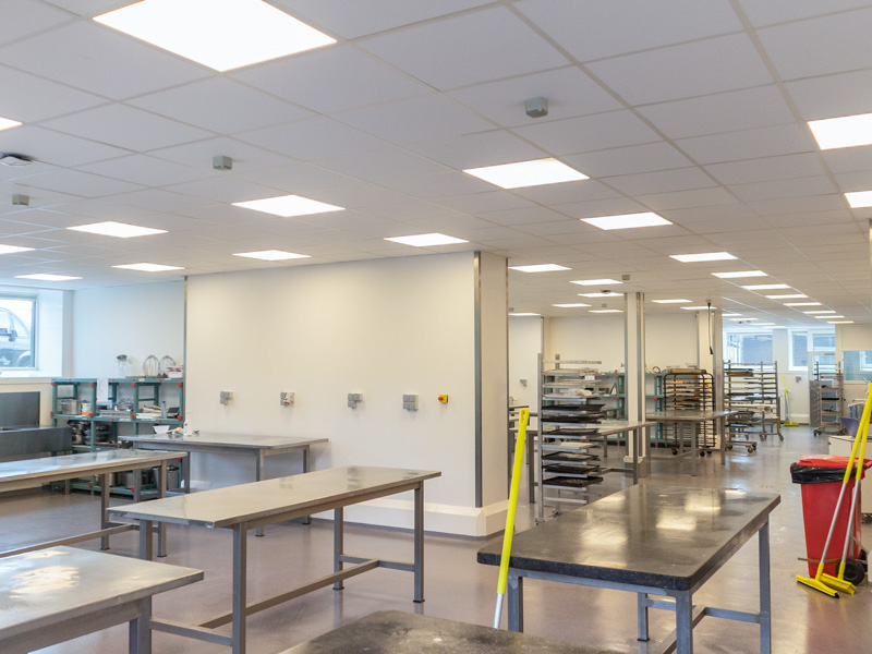 hygienic walls and ceilings in a kitchen